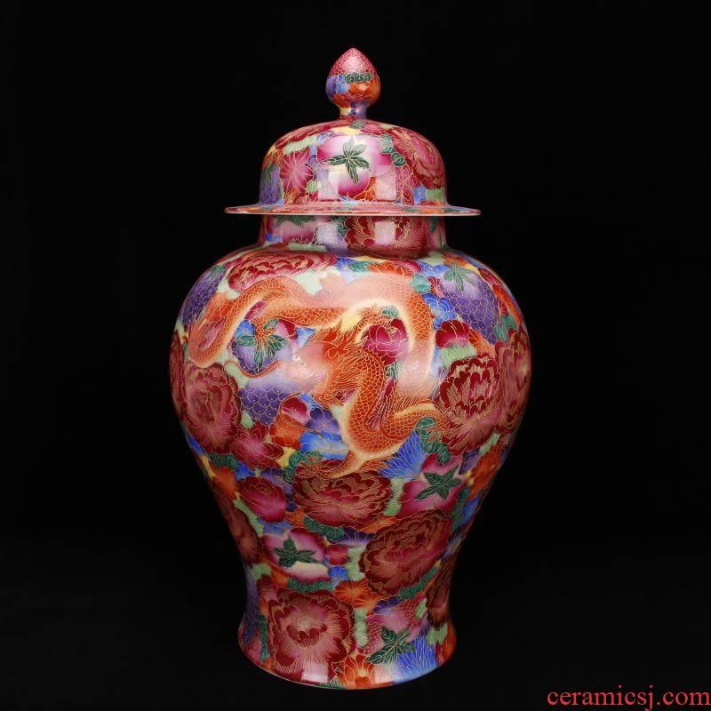 Jingdezhen ceramics antique imitation the qing qianlong com.lowagie.text.paragraph pure hand - made paint hand - cut pinch silk flower general longfeng pot