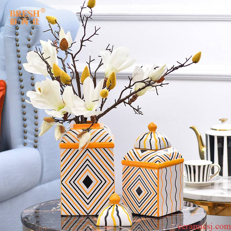 Light European - style key-2 luxury furnishing articles example room decorations ceramic vase simulation flower art for the living room table decoration