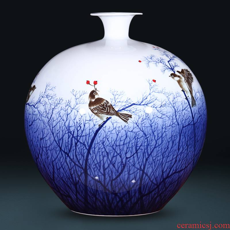 The Master of jingdezhen ceramics much luck hand - made of blue and white porcelain vases, new Chinese style sitting room adornment is placed