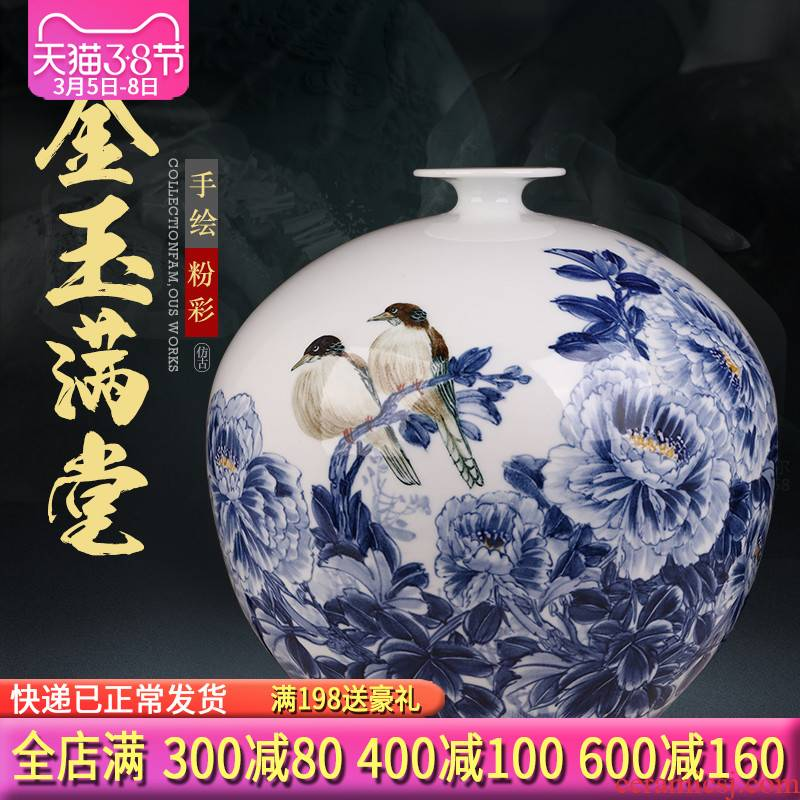 Jingdezhen ceramics by hand draw Chinese blue and white porcelain vase sitting room home TV ark adornment furnishing articles