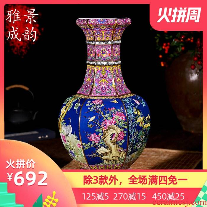 Jingdezhen ceramic archaize great ground vase restoring ancient ways is the sitting room of modern new Chinese style household act the role ofing is tasted furnishing articles of art