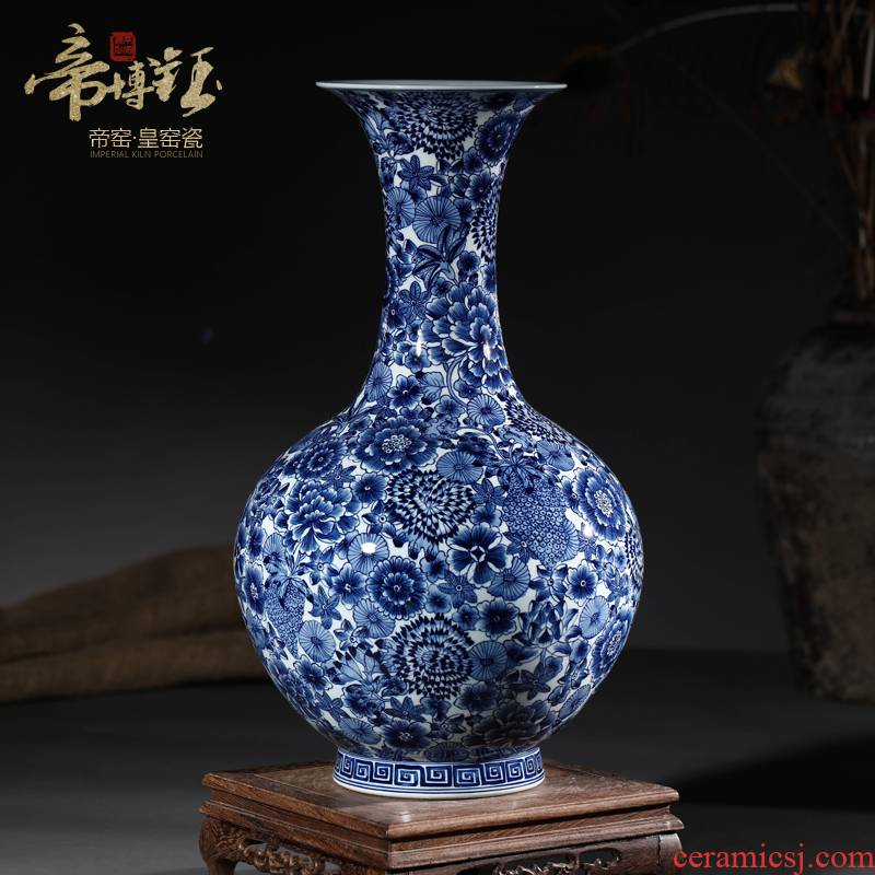 Antique hand - made porcelain of jingdezhen ceramics flower bottles of the sitting room of Chinese style household adornment furnishing articles