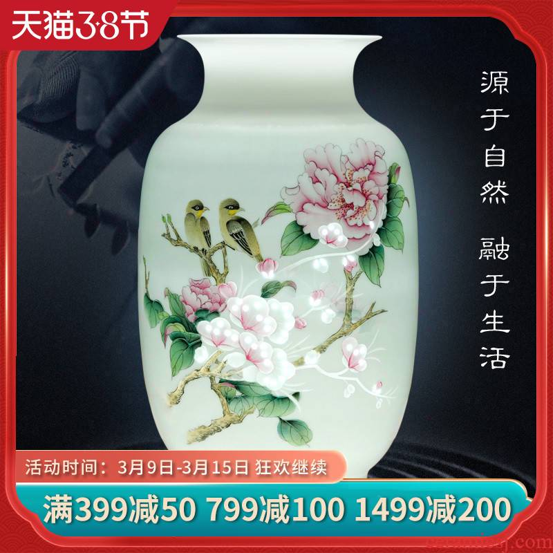 Jingdezhen ceramics flower arranging furnishing articles hand - made blooming flowers, vases, Chinese style household decorations TV ark, furnishing articles