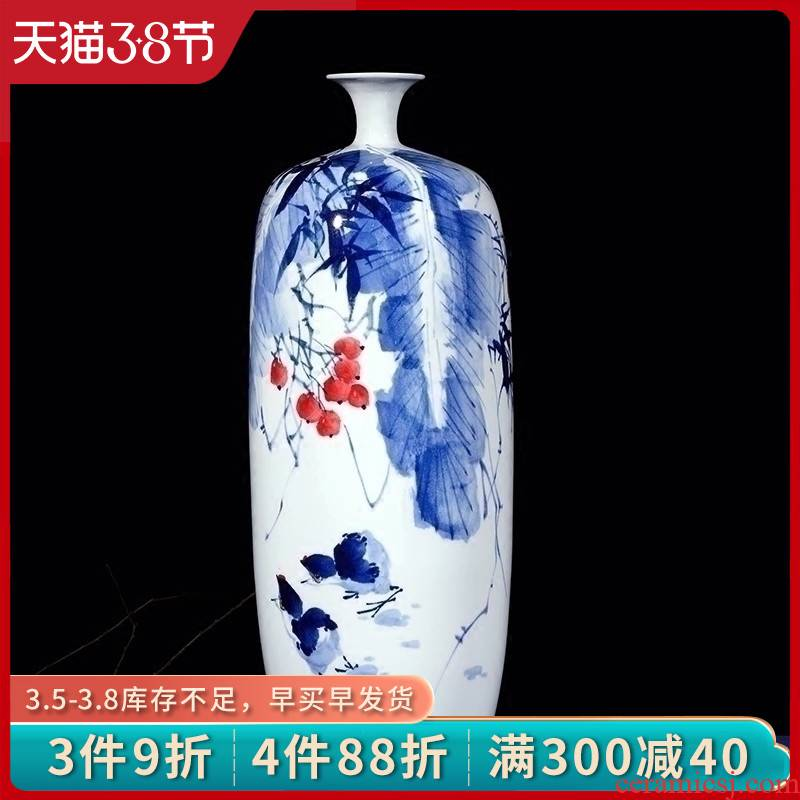 Jingdezhen ceramics hand blue and white porcelain vase lrene autumn interesting flower arranging, Chinese style living room home decoration