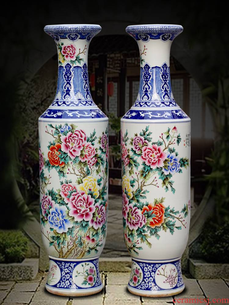 Jingdezhen ceramics bucket color peony porcelain of large adornment ornament gift porcelain vases, new Chinese style living room hotel