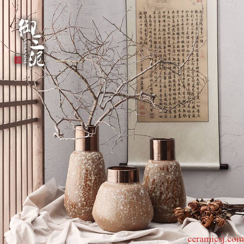 Light the key-2 luxury of I and contracted ceramic vases, dried flower adornment furnishing articles coarse some ceramic pot flower arranging restoring ancient ways, thick mud brown black copper