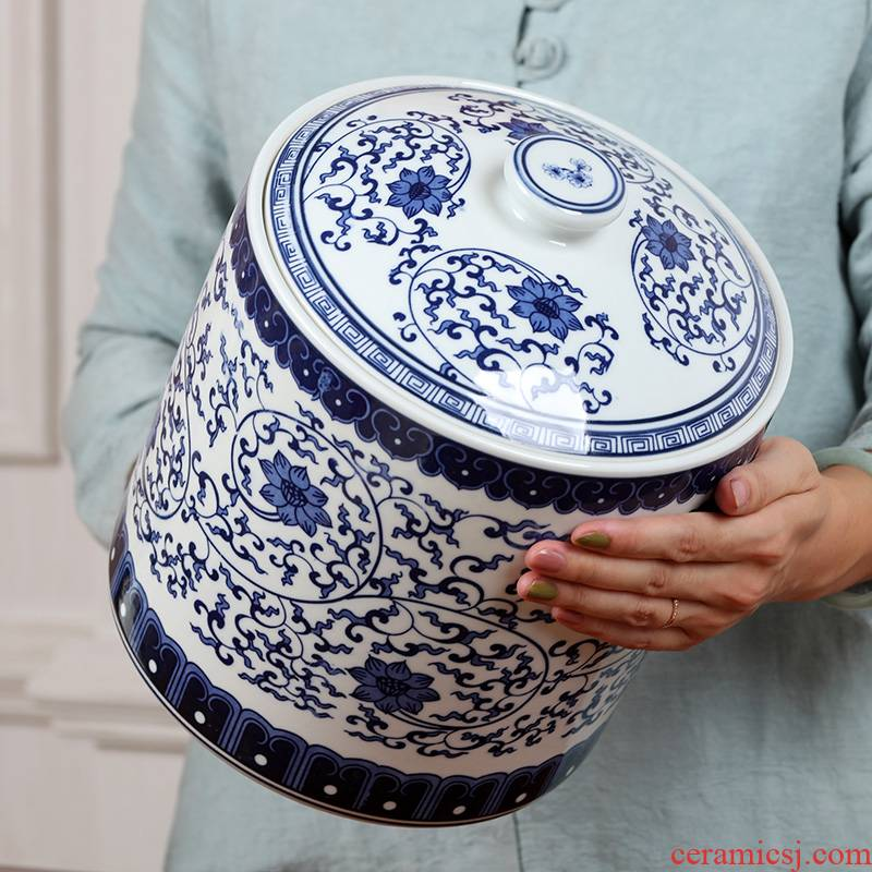 Jingdezhen ceramic green tea caddy fixings large store receives the pu 'er tea storage jar airtight storage warehouse awake tea sets
