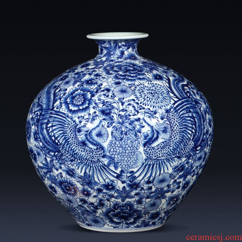 Jingdezhen ceramics imitation qianlong hand - made phoenix Chinese blue and white porcelain vase gift sitting room adornment is placed