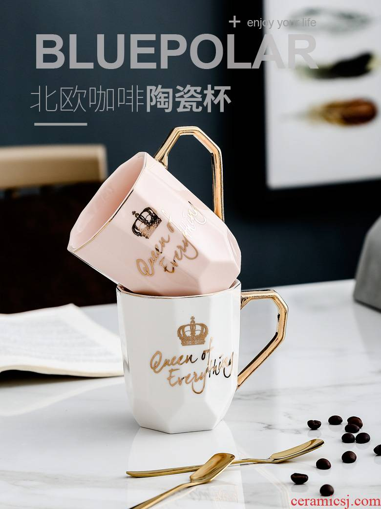 Keller Ins northern wind lovers a creative ceramic coffee cup spoon contracted household drinking cup with cover