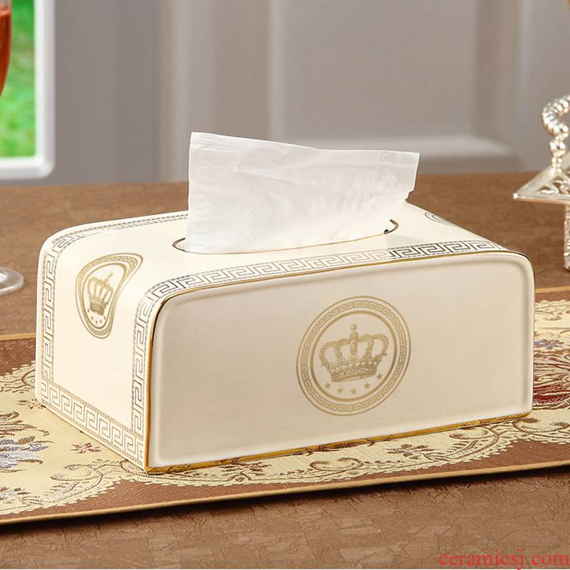 European style living room tissue box creative contracted large napkin box ceramic pump box Jane the tea table decorations furnishing articles