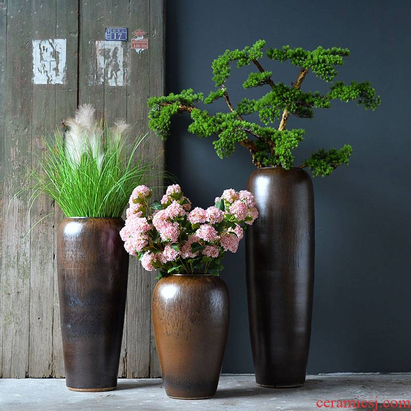Jingdezhen ceramic vase of large sitting room flower arranging furnishing articles Nordic retro nostalgia contracted flowerpot time of your life