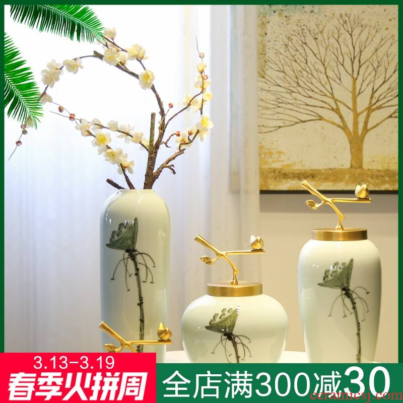 New Chinese style household ceramics bronze decoration in example room soft adornment TV ark hotel in the sitting room porch place