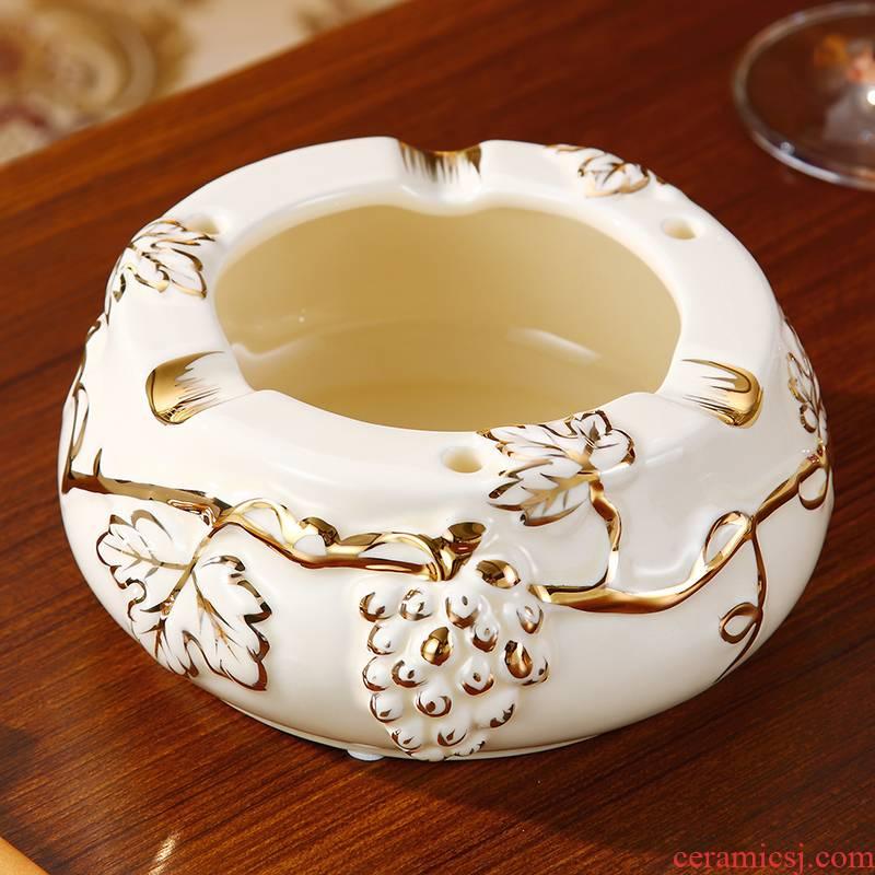 Gold ceramic ashtray home sitting room tea table move windproof ashtrays European - style key-2 luxury home furnishing articles