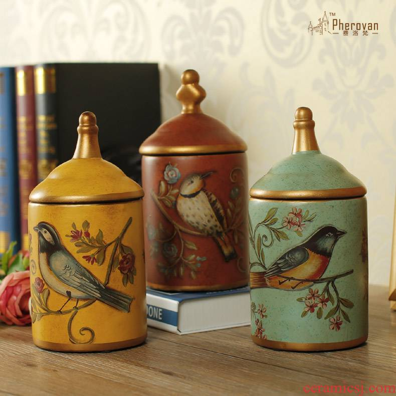 Classic fashion American country ceramic painting of flowers and creative storage tank furnishing articles home sitting room desktop ornaments