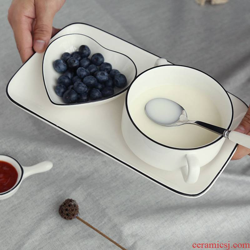 White ceramic frame plates creative one eat breakfast tray was home west pot dish plate of western dishes suit