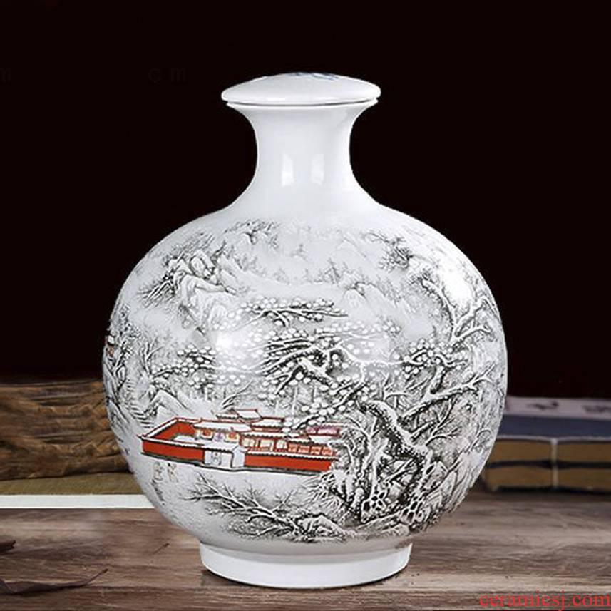 Jingdezhen 10 jins to ceramic seal wine empty wine bottle ten catties mercifully wine jar jar of ornaments