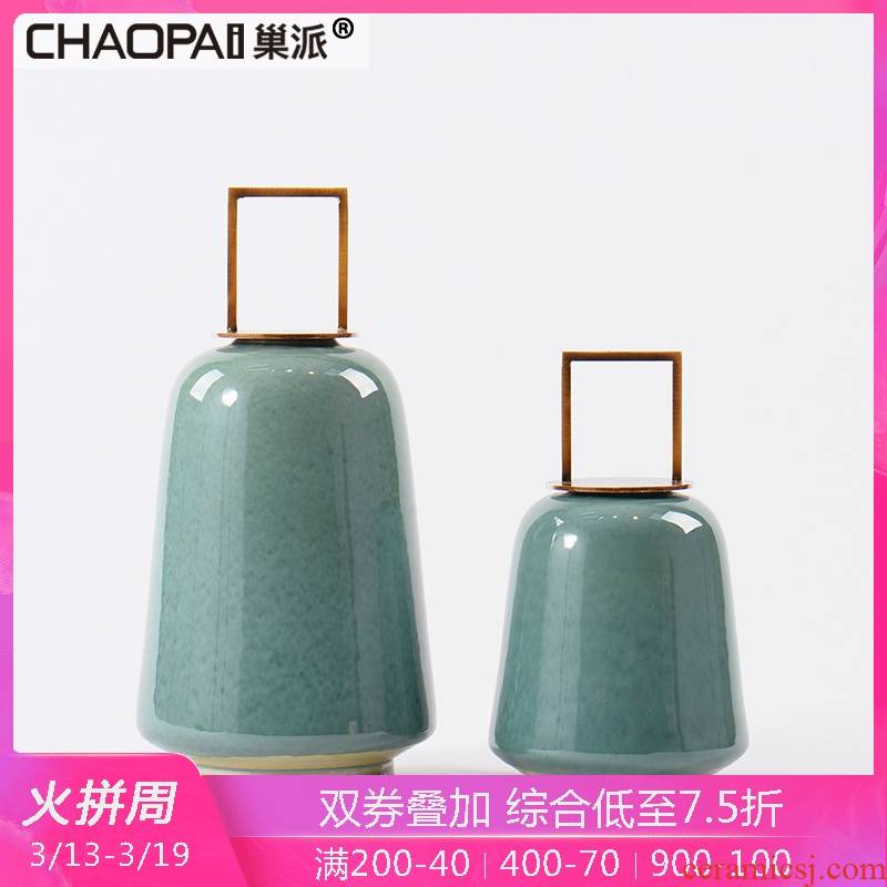 Wine ceramic decoration ideas, the sitting room porch closet exhibition hall decoration new Chinese modern soft outfit furniture furnishing articles