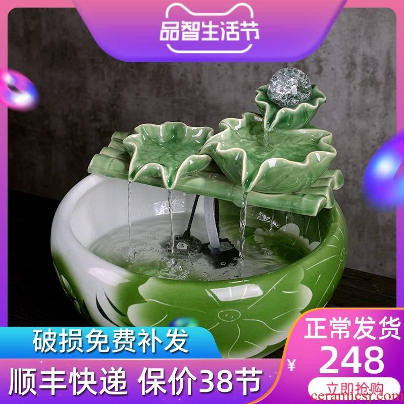 Jingdezhen ceramic aquarium landscape water fountain desktop furnishing articles sitting room spray humidifier fish living water basin