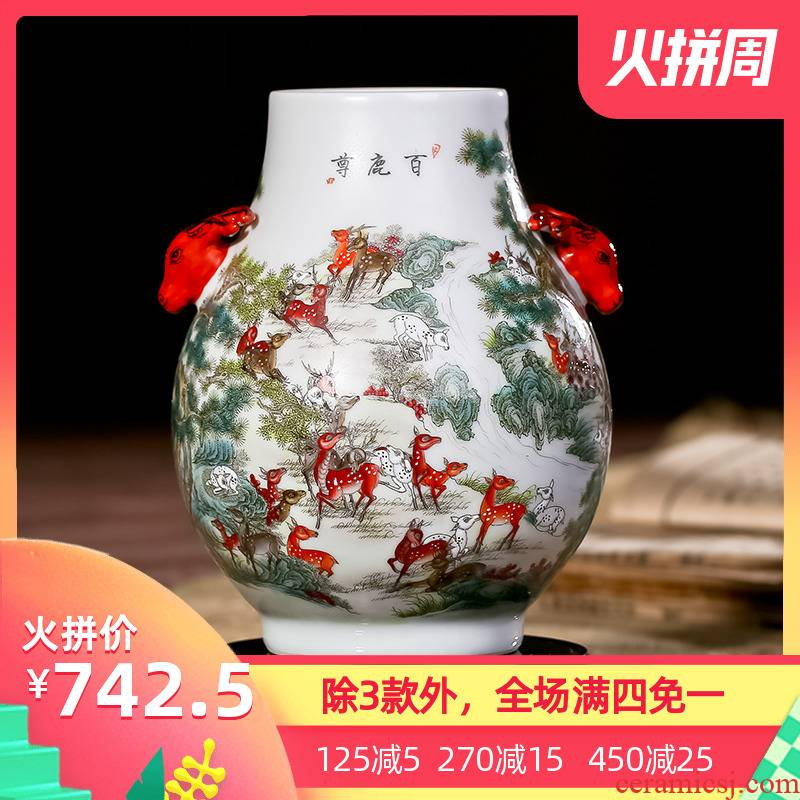 Jingdezhen ceramics imitation retro nostalgia art flower arranging large vase office sitting room checking works of art