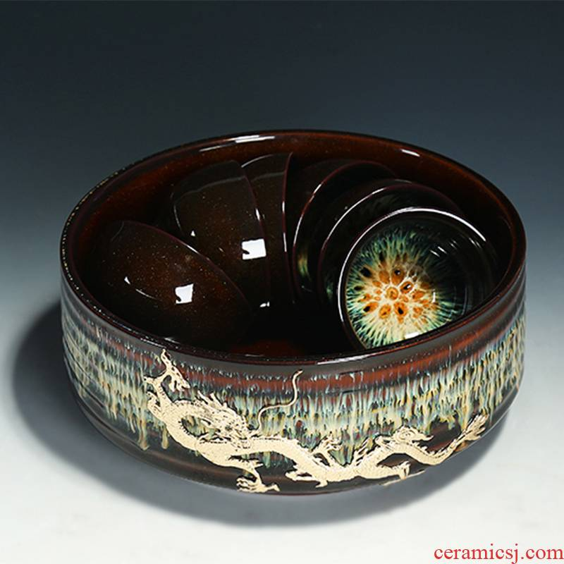 Ceramic color glaze up tea red glaze, the sea kung fu tea wash cup a cup of tea to wash water, after the wash water