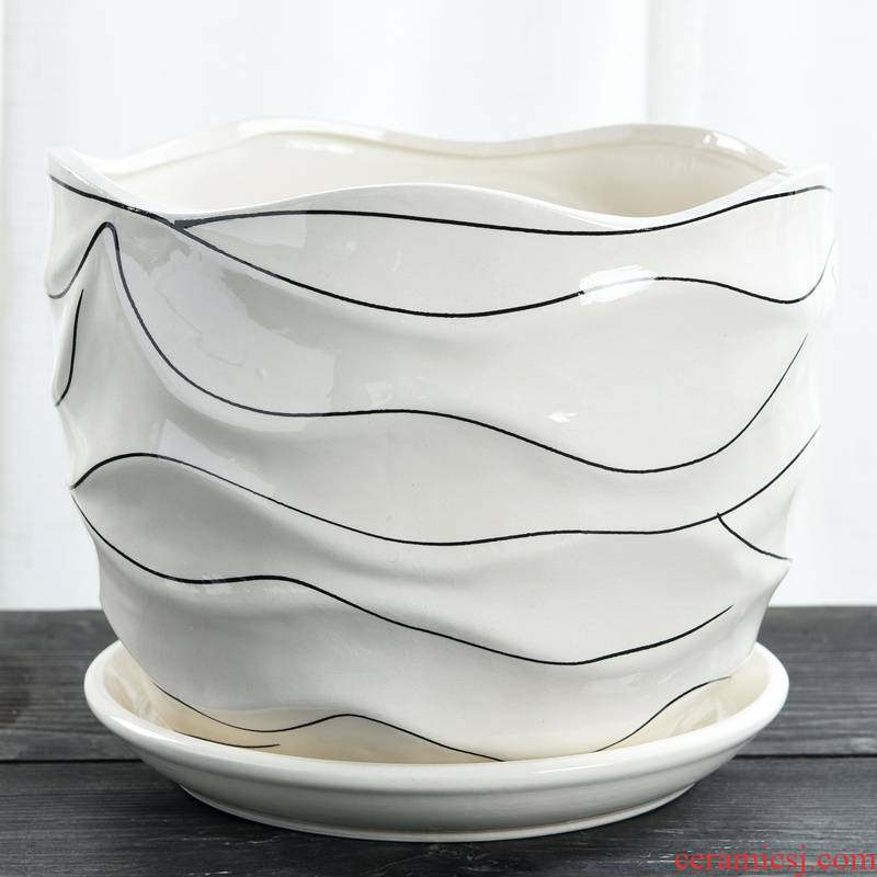 White flower pot ceramic creative Nordic contracted household special offer a clearance to heavy large tray flowerpot more than other meat