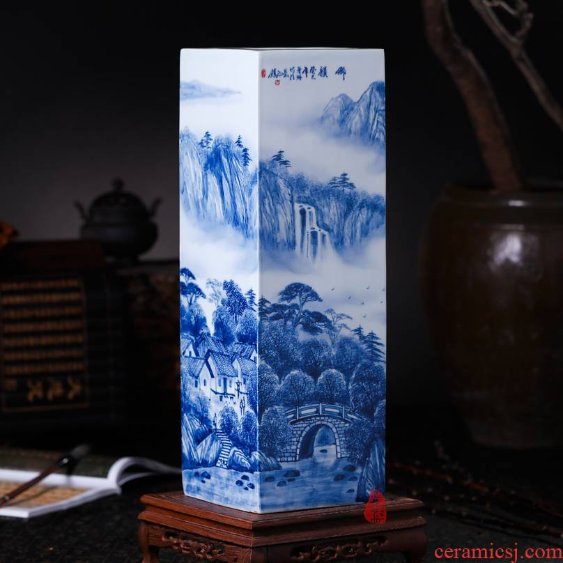 The Master of jingdezhen ceramics hand - made tungs of hometown square vase flower tube quiver sitting room place, the study of calligraphy and painting