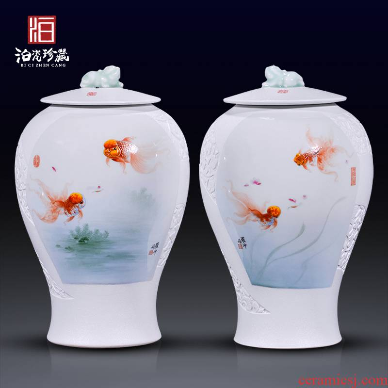 Jingdezhen ceramic hand - made goldfish for bottle decoration of new Chinese style household decorates sitting room study collect flower arranging furnishing articles