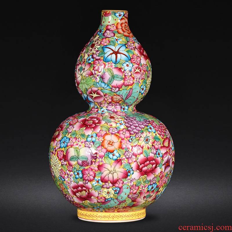 Jingdezhen ceramics hand - made pastel gourd vases, flower arrangement sitting room of Chinese style household adornment handicraft furnishing articles