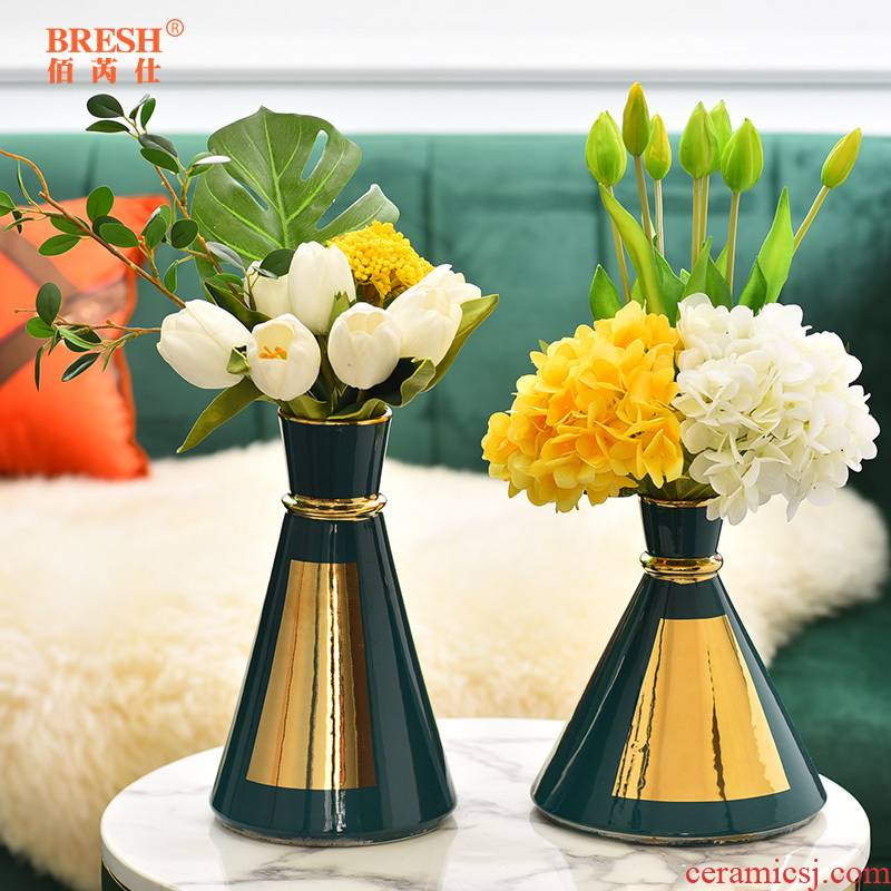 Light key-2 luxury ceramic vase floral wine TV ark, furnishing articles contracted sitting room creative fashion decoration H1012 shelf