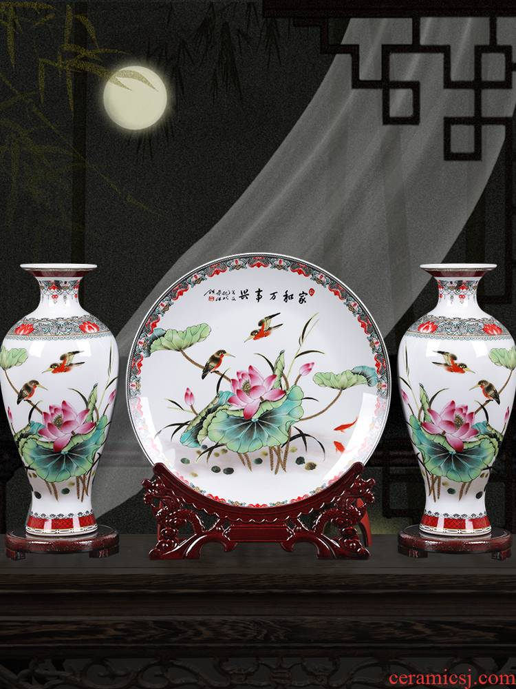 Ceramic vase three - piece furnishing articles home sitting room TV ark adornment flower arranging, small new Chinese arts and crafts