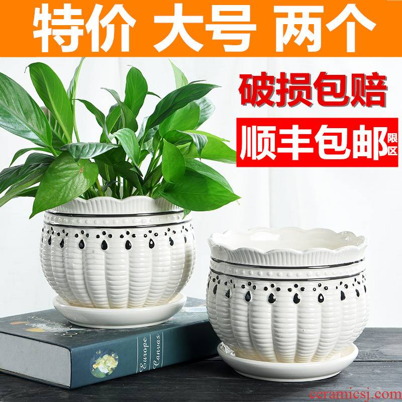 Flowerpot ceramic large extra large special offer a clearance take tray was more creative money plant contracted individuality bracketplant, the Flowerpot