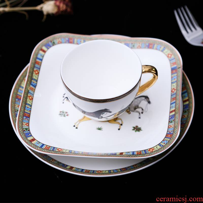 Fort SAN road continental cup dish plate ceramic steak three - piece suit household breakfast tray was one eating utensils