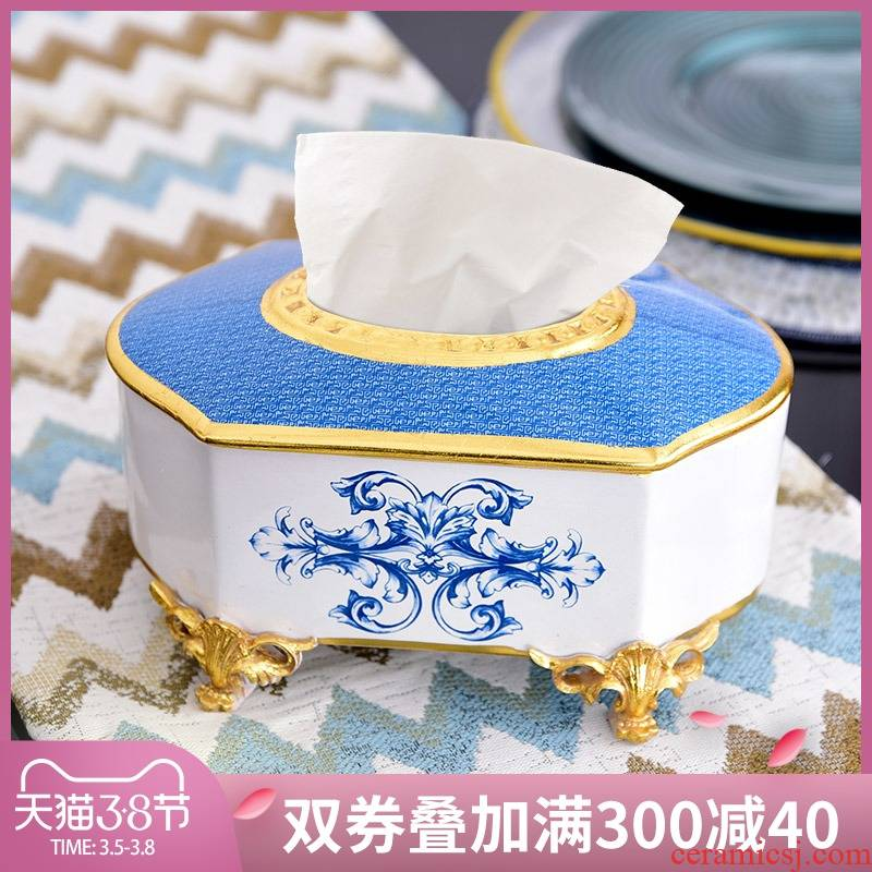 European ceramic tissue box creative American light key-2 luxury household smoke box furnishing articles table napkin box sitting room tea table
