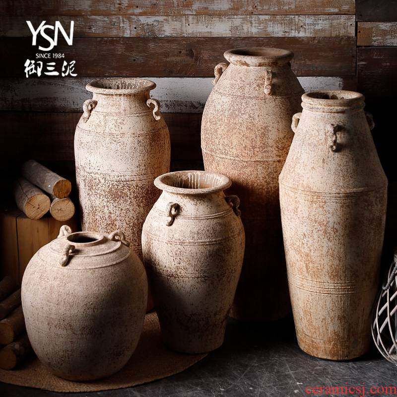 Jingdezhen manually restoring ancient ways is archaize of coarse pottery unearthed dry flower vase meaty plant flower pot zen home stay facility