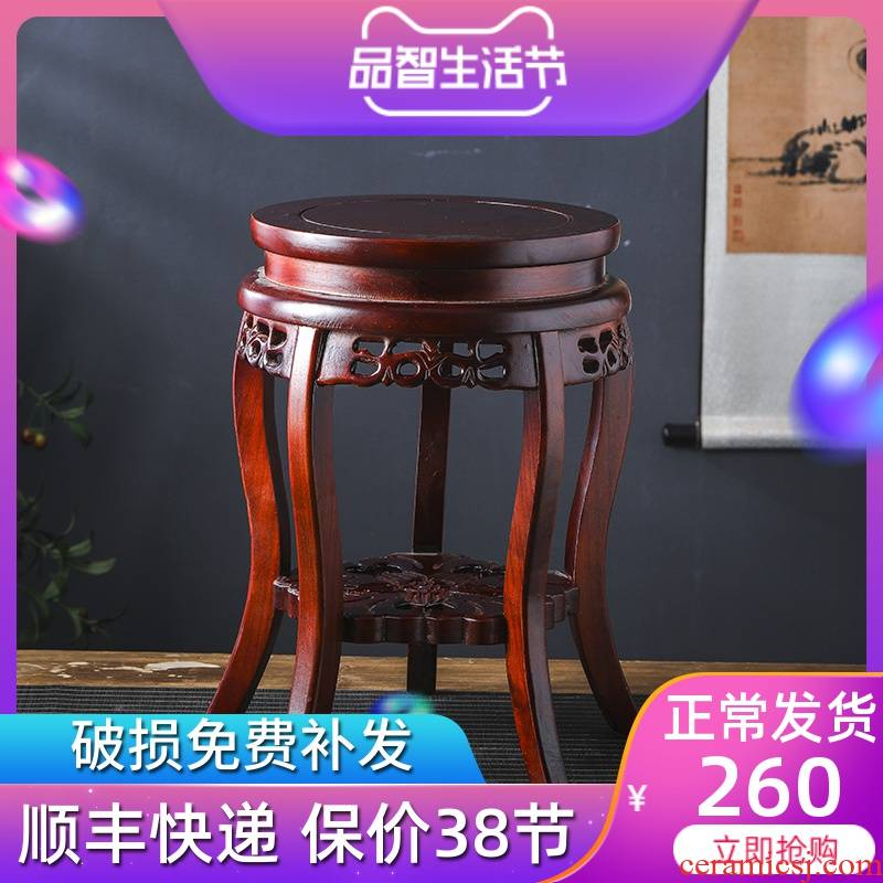 Aquariums flower vase solid wood base ceramic base of Chinese wind restoring ancient ways