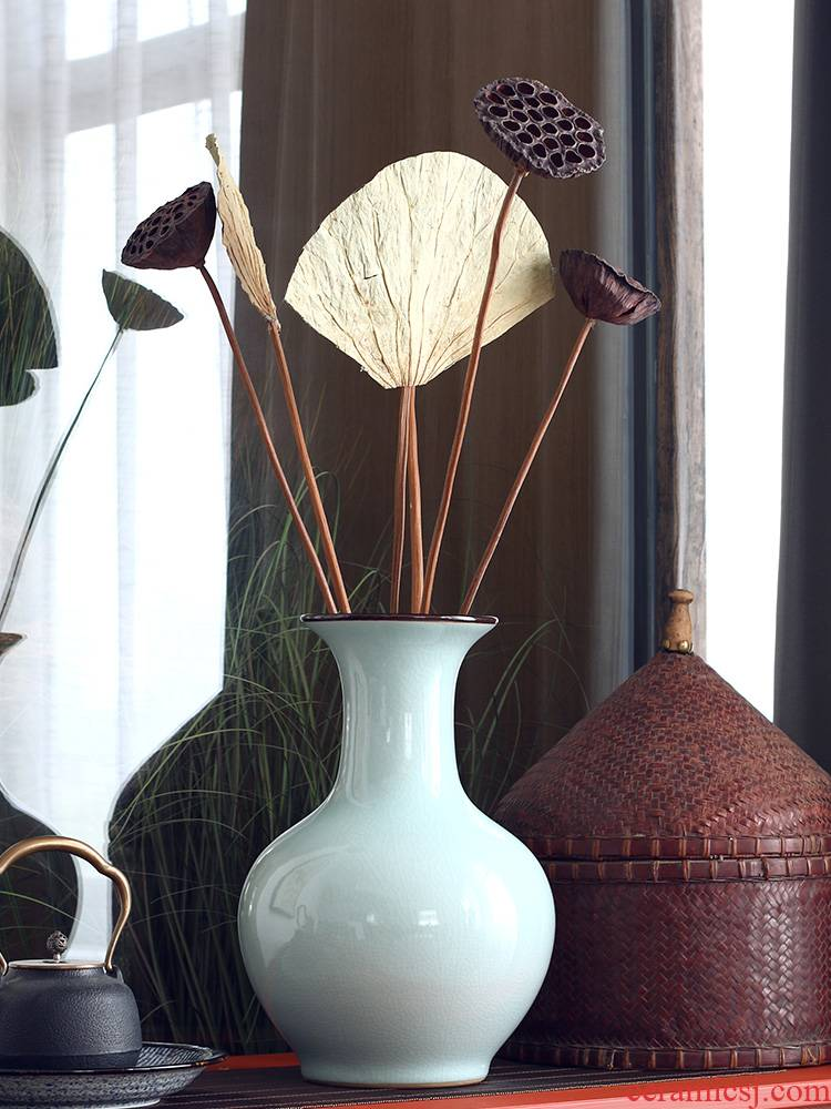 Longquan celadon vase sapphire tall waist jingdezhen ceramic vase vase for Buddha zen clear soup WoGuo big vase