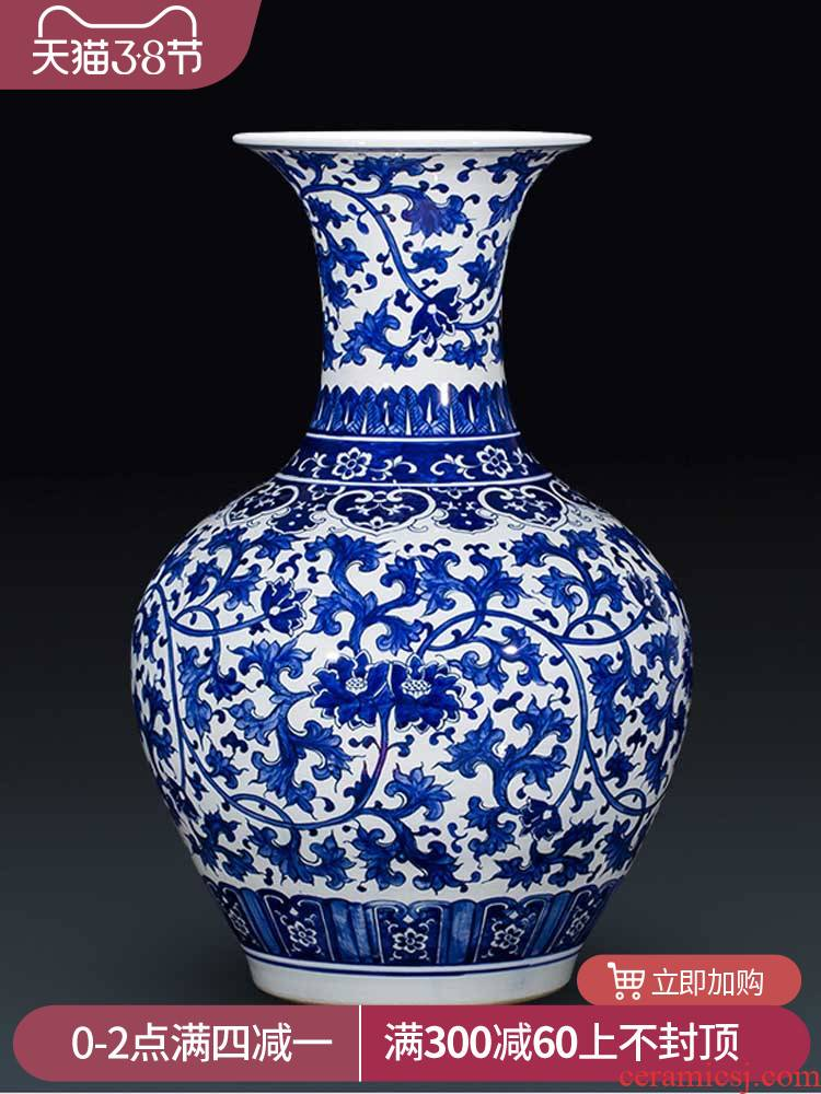 Chinese style antique hand - made of blue and white porcelain jingdezhen ceramic vase branch lotus home sitting room porch rich ancient frame furnishing articles