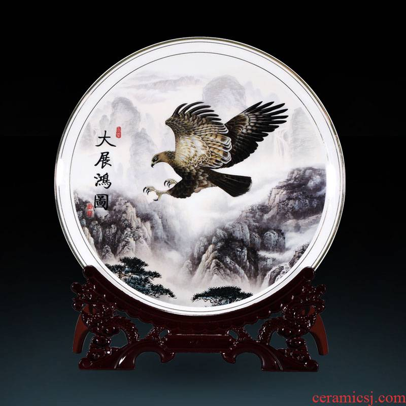 Jingdezhen ceramics all decorative plate Chinese sitting room porch ark adornment office furnishing articles
