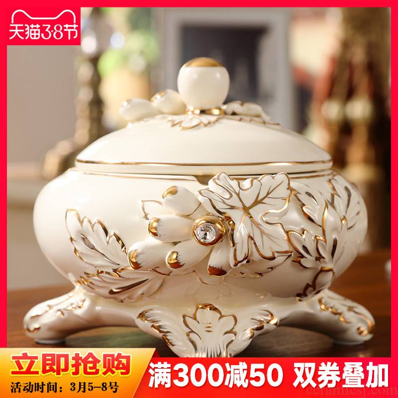 Europe type ashtray with cover wind decorations creative ceramic sitting room key-2 luxury fashion move and practical furnishing articles tea table