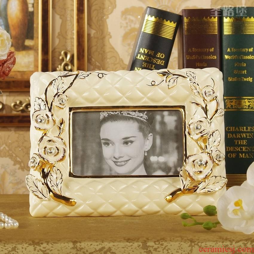 European ceramic frame 6 inch rectangular photo frame ideas desktop furnishing articles birthday gift bag in the mail