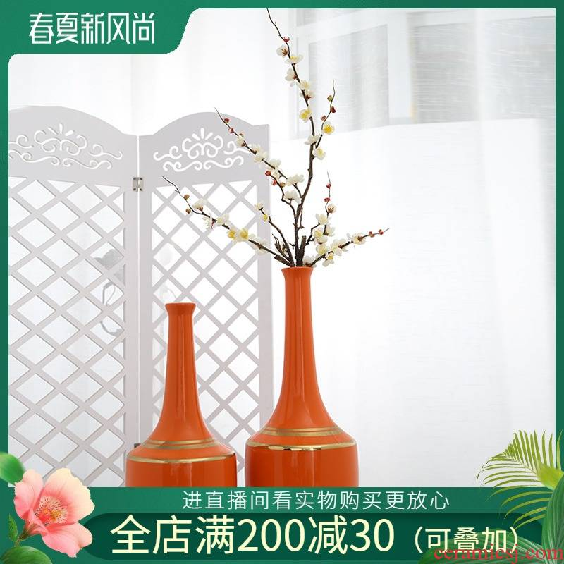 Jingdezhen mesa of new Chinese style ceramic vases, flower arranging flower adornment home sitting room table simulation soft outfit furnishing articles