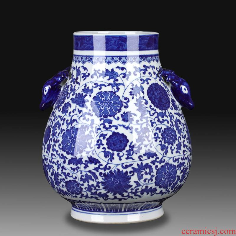 Jingdezhen ceramics large blue and white vase landing ears flower arrangement sitting room adornment of Chinese style household furnishing articles