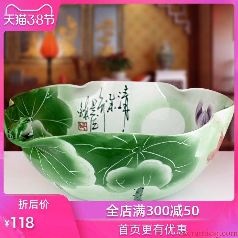 Ceramic frog creative goldfish bowl lotus shallow water lily birdbath irregular cylinder tortoise contracted fashion accessories
