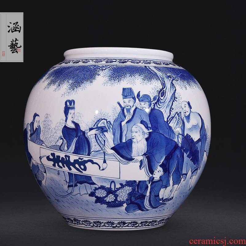 Jingdezhen ceramics hand - made porcelain of the eight immortals birthday blessing tube collectors of new Chinese style living room decoration handicraft furnishing articles
