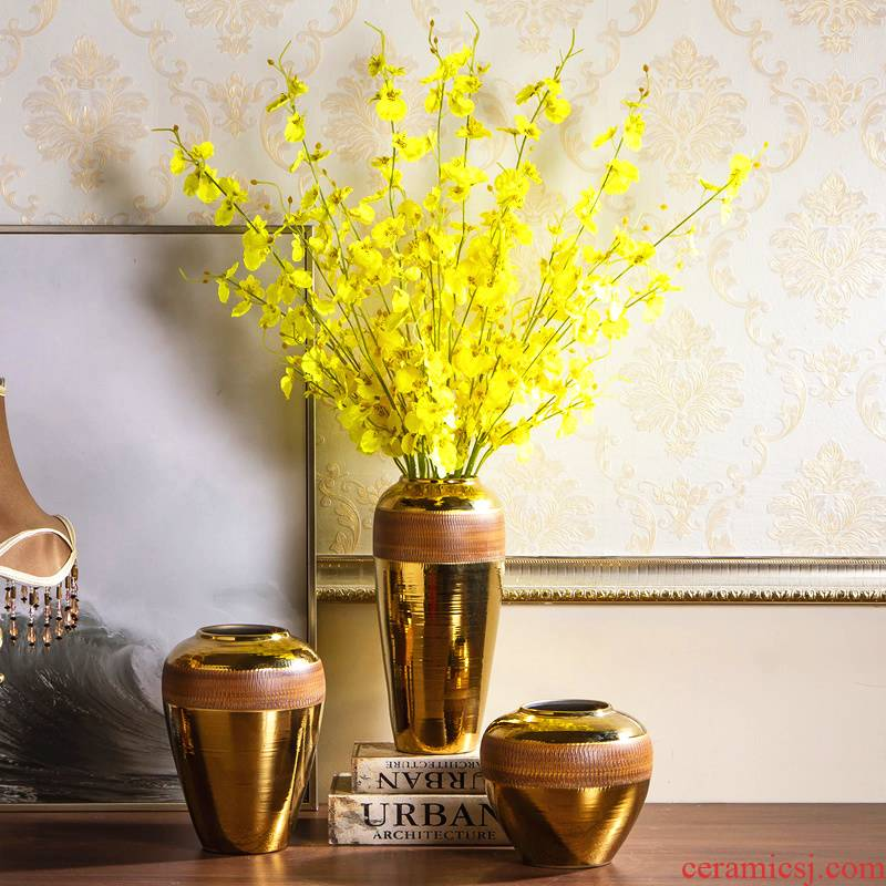 Jingdezhen ceramic vase furnishing articles golden light key-2 luxury living room dry flower arranging flowers European table POTS creative decoration