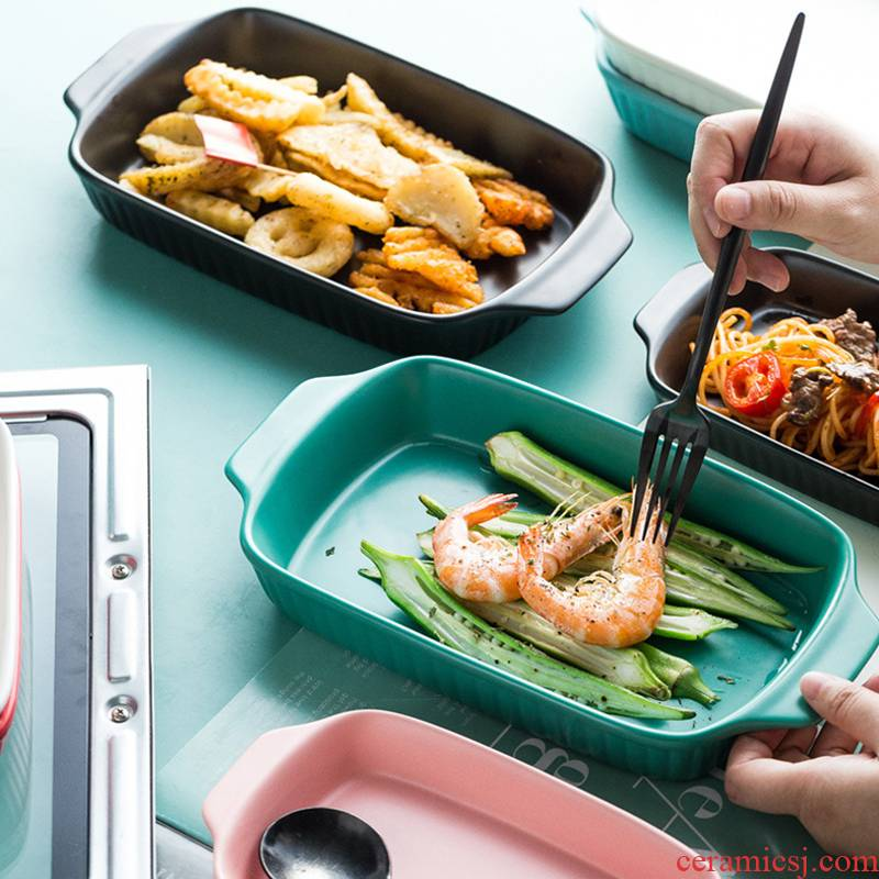 Web celebrity ears ceramic baked FanPan creative household wind handle cutlery ins rectangular dish dish baking pan
