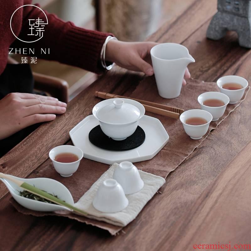 """White porcelain tea set manual mud tureen kung fu tea cups set of household ceramic tea set gift boxes"