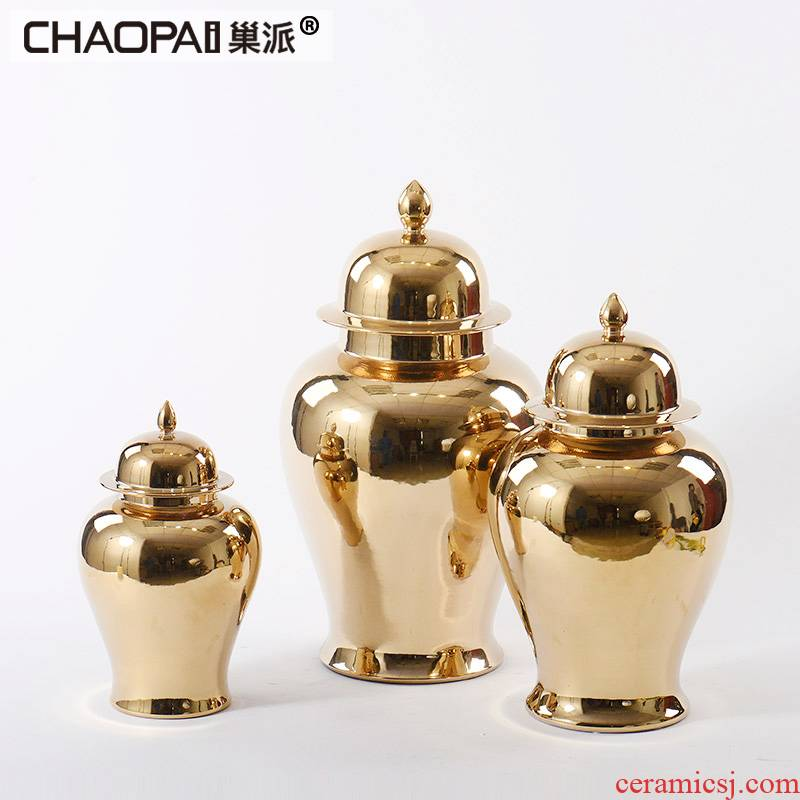 New Chinese style golden light and decoration ceramics storage tank soft adornment ark hotel villa partition porch the general pot of furnishing articles