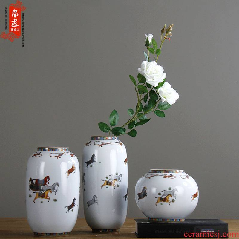Jingdezhen modern new Chinese style ceramic flower creative living room TV wine rich ancient frame home furnishing articles