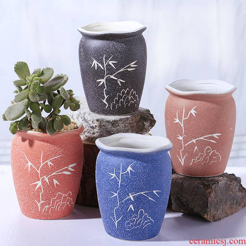 Ceramic flower pot high basin mage small old running the flesh creative move restoring ancient ways is large coarse pottery specials meaty plant POTS